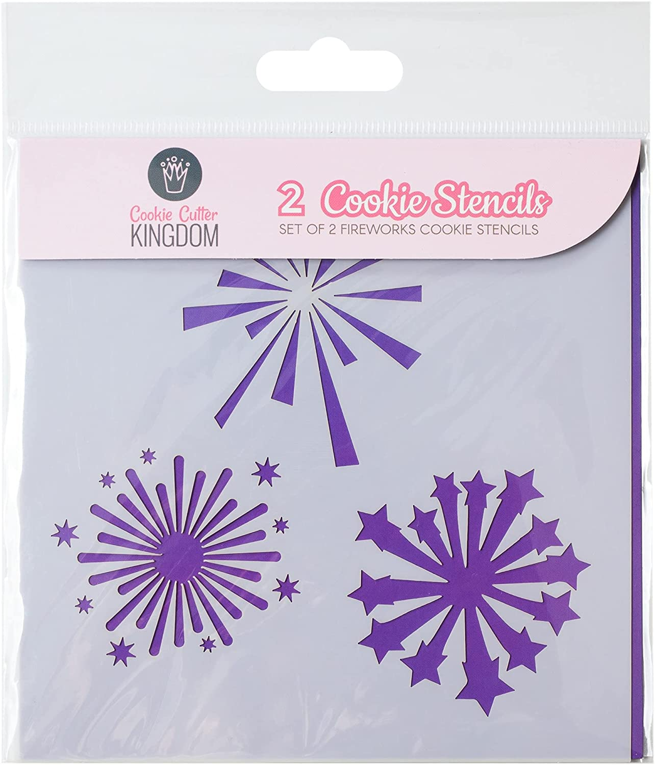 Fireworks Cookie Stencil for Food Decorating. 2 Piece Cookie Cutter Kingdom Stencil for Royal Icing or Food Spray. 5.5 x 5.5 Inch Size. Fourth of July Stencil.