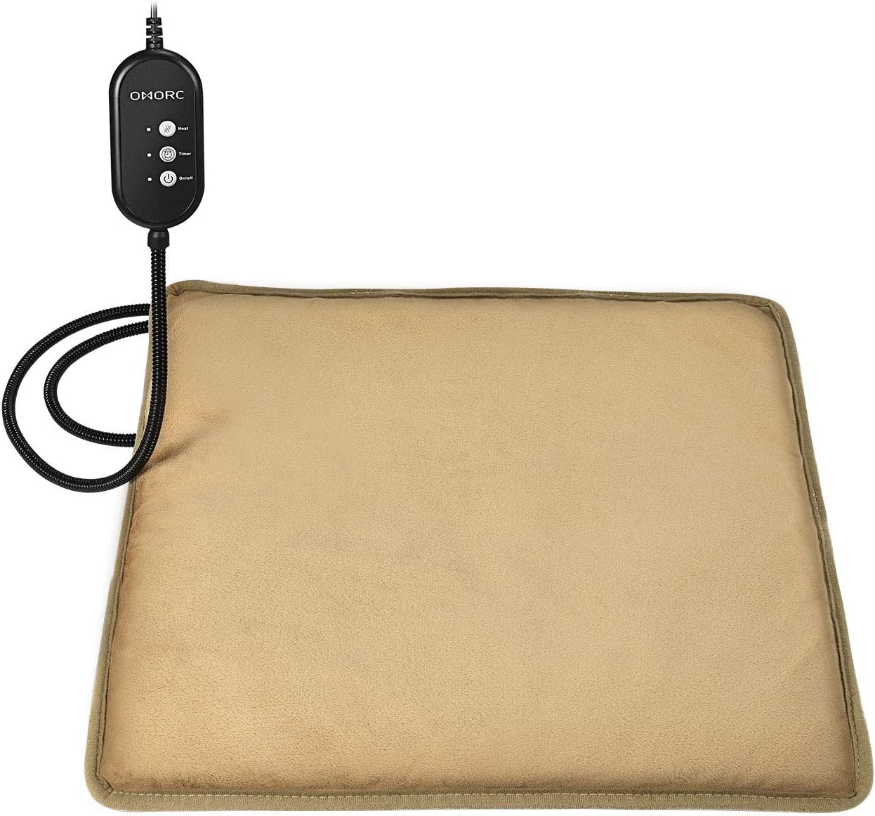 "OMORC Pet Heating Pad, 12V Safe Dog Cat Heating Pad with 3 Level Timer & Temperature Settings & 2 Replaceable Cover, Auto Power-Off Thermostats and Anti-Bite Tube, 17"" x 17"" Heated Mat for Pets"