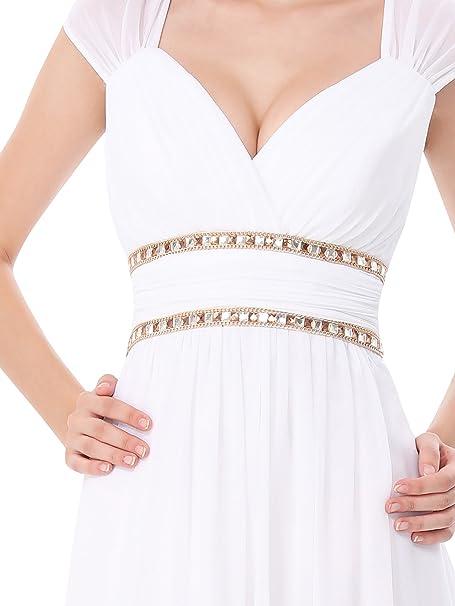 Vestido largo de Ever Pretty (08697), para noche elegante con escote de pico, para mujer Blanco blanco 38: Amazon.es: Ropa y accesorios