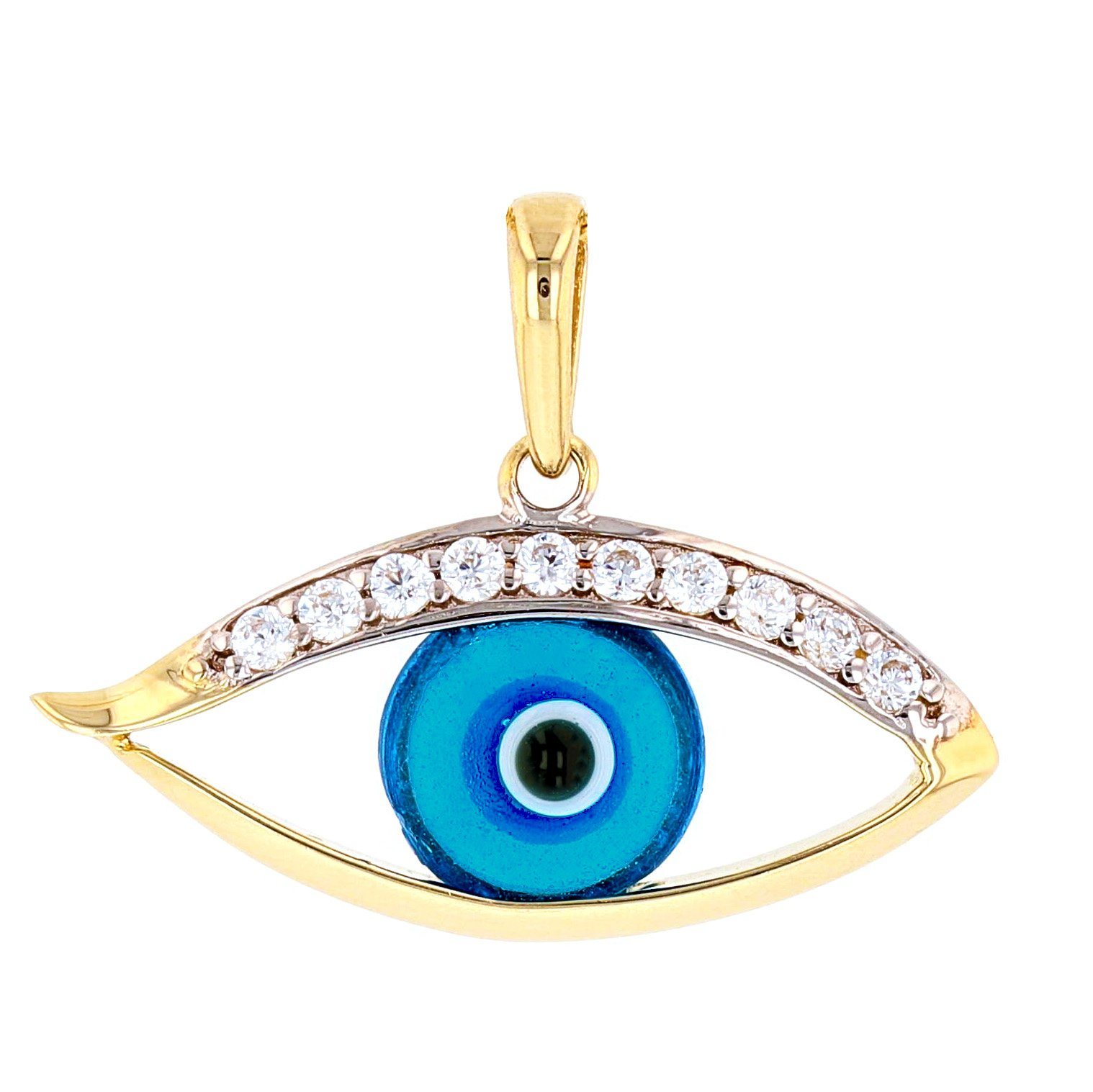 Polished 14k Gold Blue Evil Eye with Cubic Zirconia Charm Pendant