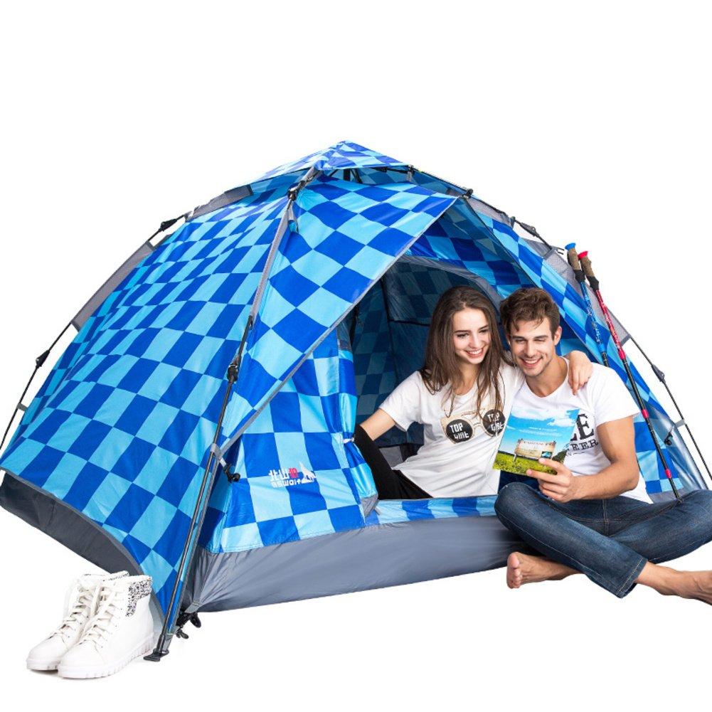 TY&WJ Vollautomatische Campingzelt,Double Layer Regendichte Zelte Kuppelzelte Für Outdoor-sportarten Reise Wandern Tipi Dual-use 3-4 Personen