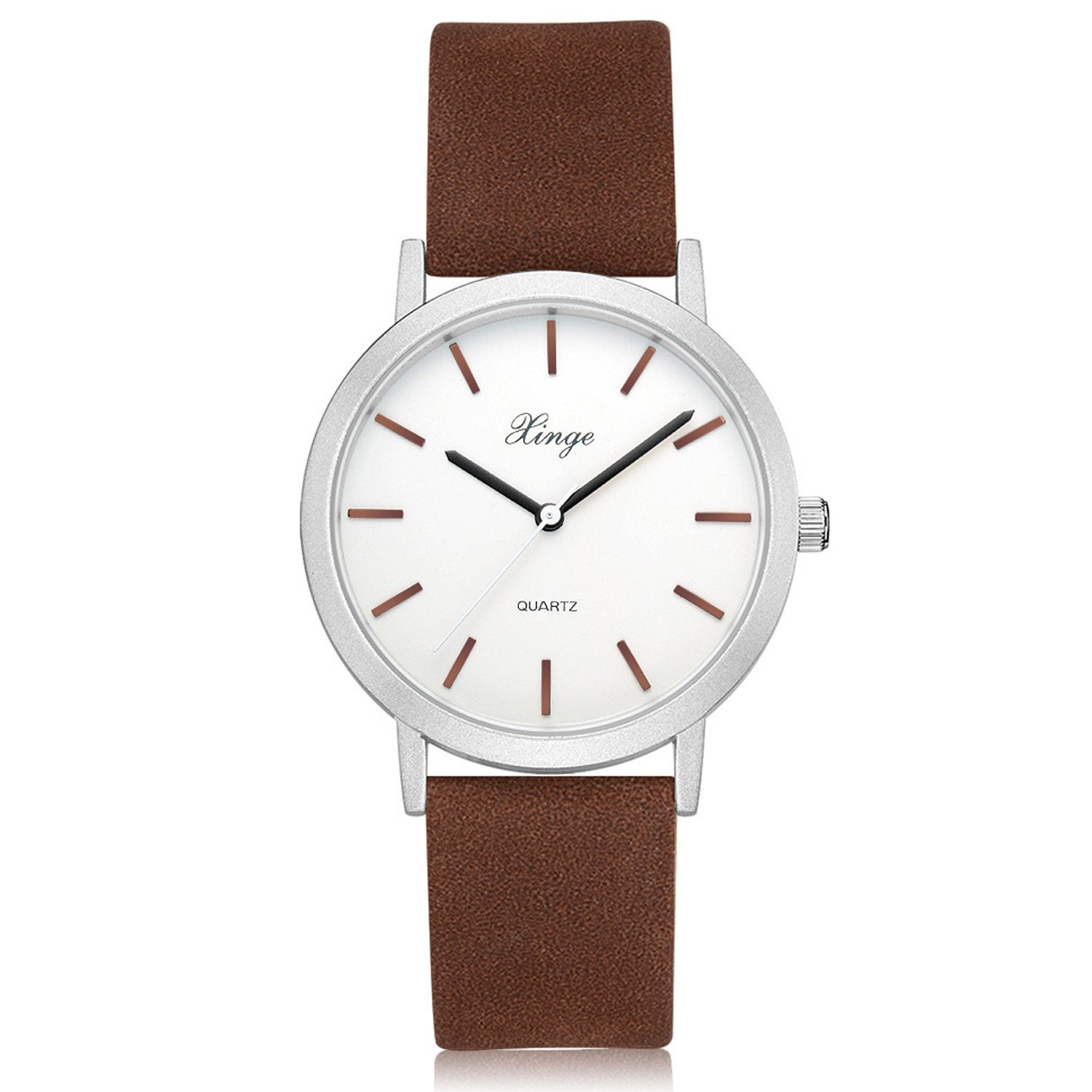 Womens Classic Casual Wrist Watch Simple Design Analog Quartz Leather Band Watches (Brown)