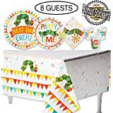The Very Hungry Caterpillar Birthday Party Supplies 49 Items: Dinner & Dessert Plates Tablecloth Napkins Cups Stickers - Party Bundle Decorations - Baby Shower Set & Kids Birthday Party Kit - 8 Guests