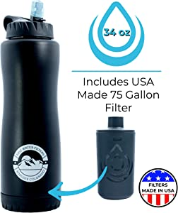 Epic Water Filters | Vostok | Water Filtration Bottle | Double Wall Vacuum Insulated 34 oz | Pro Grade Stainless | USA Made Filter Removes 99.99% of Tap Water Contaminants Lead Chlorine