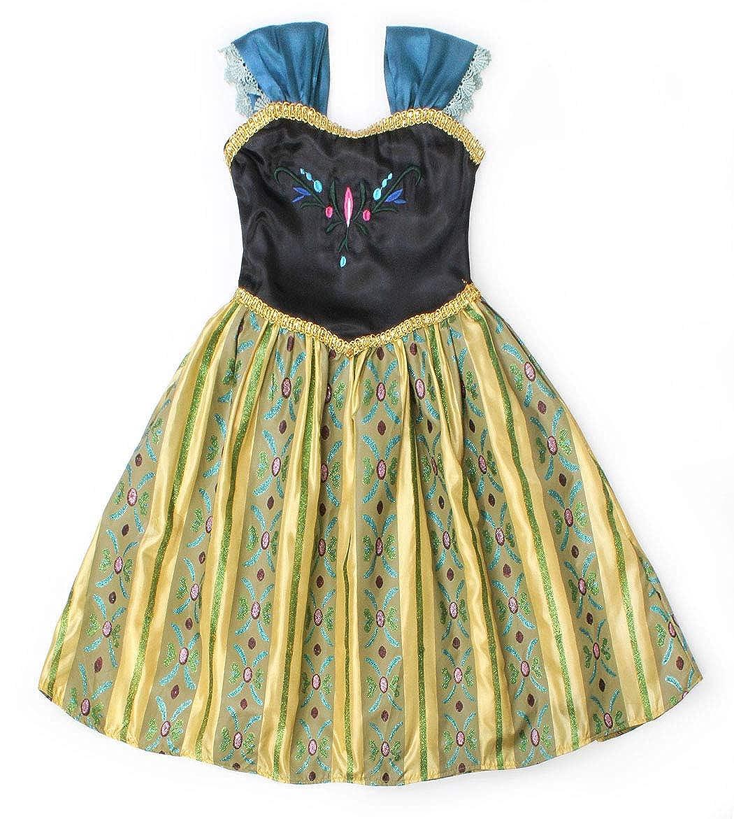 AmzBarley La Principessa Anna Incoronazione Vestito Costume per Bambine Ragazze Festa Vestire Abiti Compleanno Carnevale Vacanza Cosplay Vestito