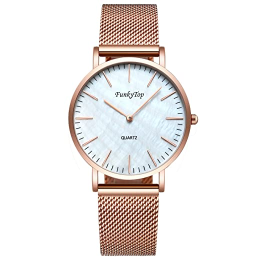 3a1a5db54 FunkyTop Women Casual Stainless Steel Mesh Watch Quartz Analog Fashion  Waterproof Ultra Slim Watch (Rose