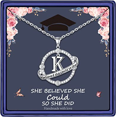 Yoosteel Inspirational 2021 Graduation Gifts for Her, Engraved She Believed She Could So She Did Compass Necklace Graduation Present 2021 College Graduation Gifts for Her
