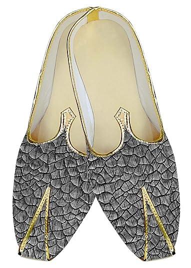 Mens Silver Wedding Shoes Fish Skin Pattern MJ018017
