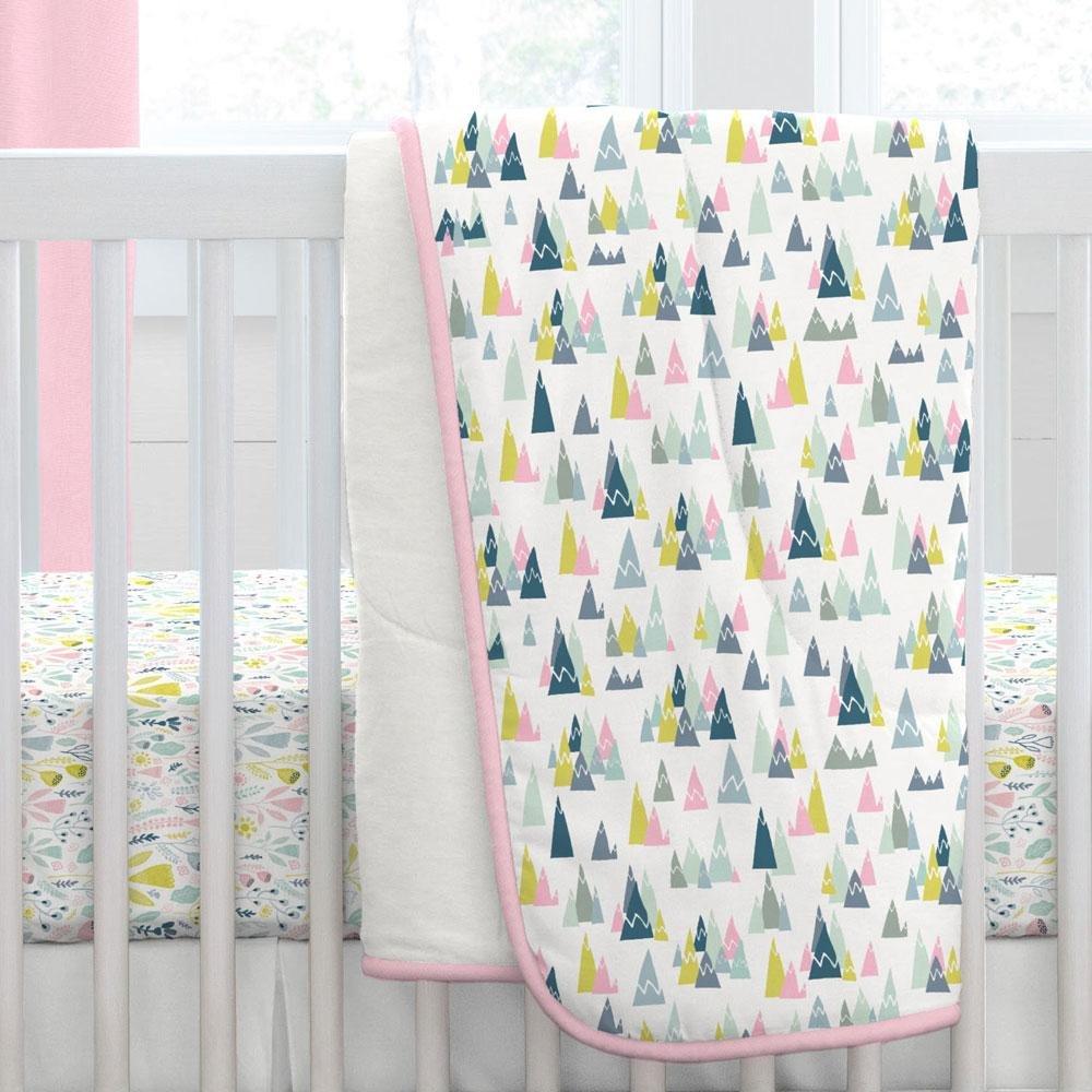 Carousel Designs Pink Woodland Mountains Crib Comforter