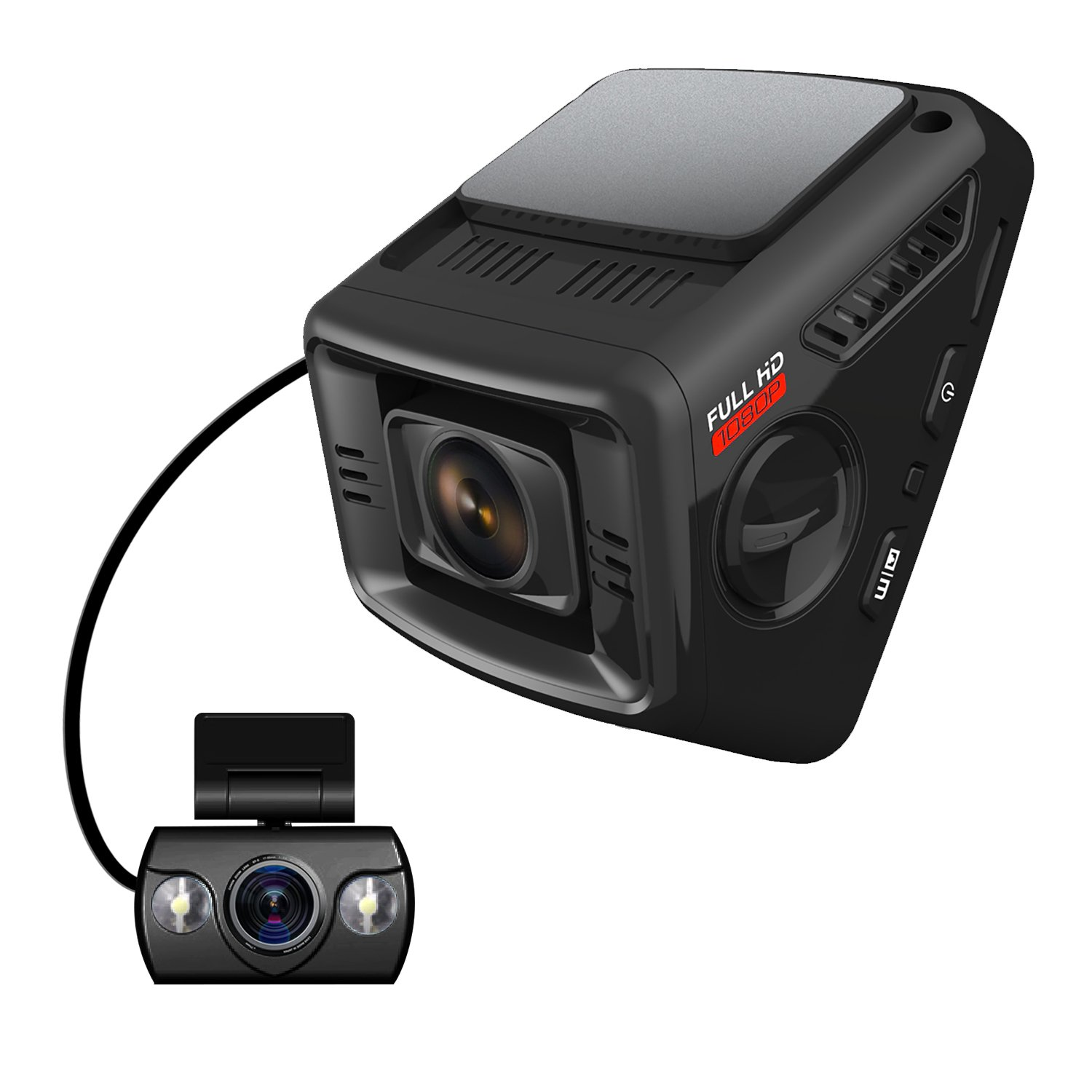 ITRUE X6D Dual Car Dash Cam Pro Stealth Full-HD 1080P 170°Wide Angle, Night Mode, G-Sensor, WDR, 16GB MicroSD Card and Hard Wire Kit by iTrue