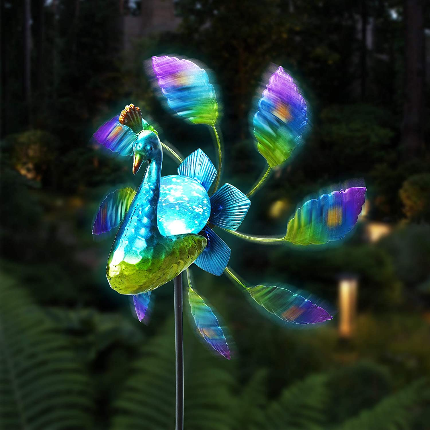 Untimaty Solar Wind Spinner Garden Lights Metal Peacock Stake Waterproof Glass Solar Powered Stake for Outdoor Patio Yard Pathway Decorations
