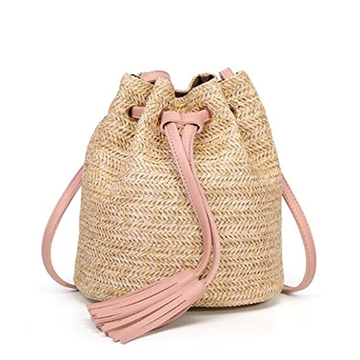Amazon.com  Women Small Beach Bohemian Round Straw Crossbody Bucket Hobo  Bags For Lady Summer Panier Plage Shoulder Rattan Messenger Bags  Sports    Outdoors 254ee56d73507