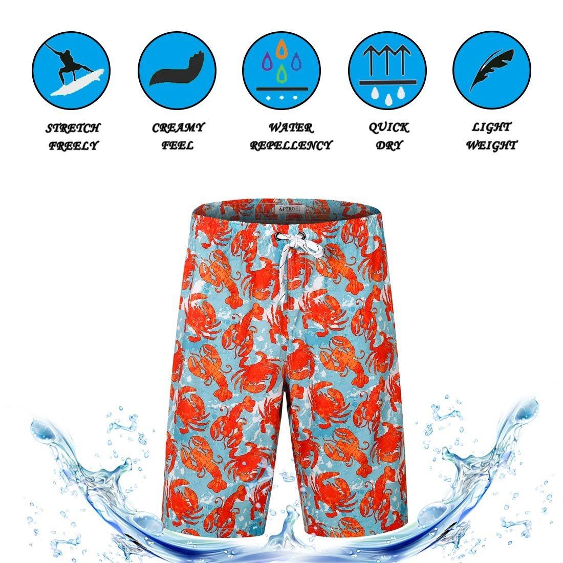 APTRO Men's Swim Trunks Crab Printing Bathing Suit #HW016 XXL by APTRO (Image #6)