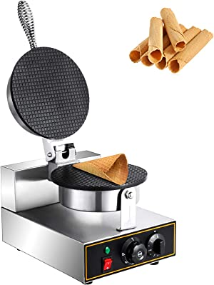 Happybuy 110V Commercial Ice Cream Cone Maker 1200W Nonstick Coating Surface Stainless Steel Egg Roll Machine with AdjustableTemperature and Time Controlfor Restaurant Bakeries, 10x13 inch, Waffle