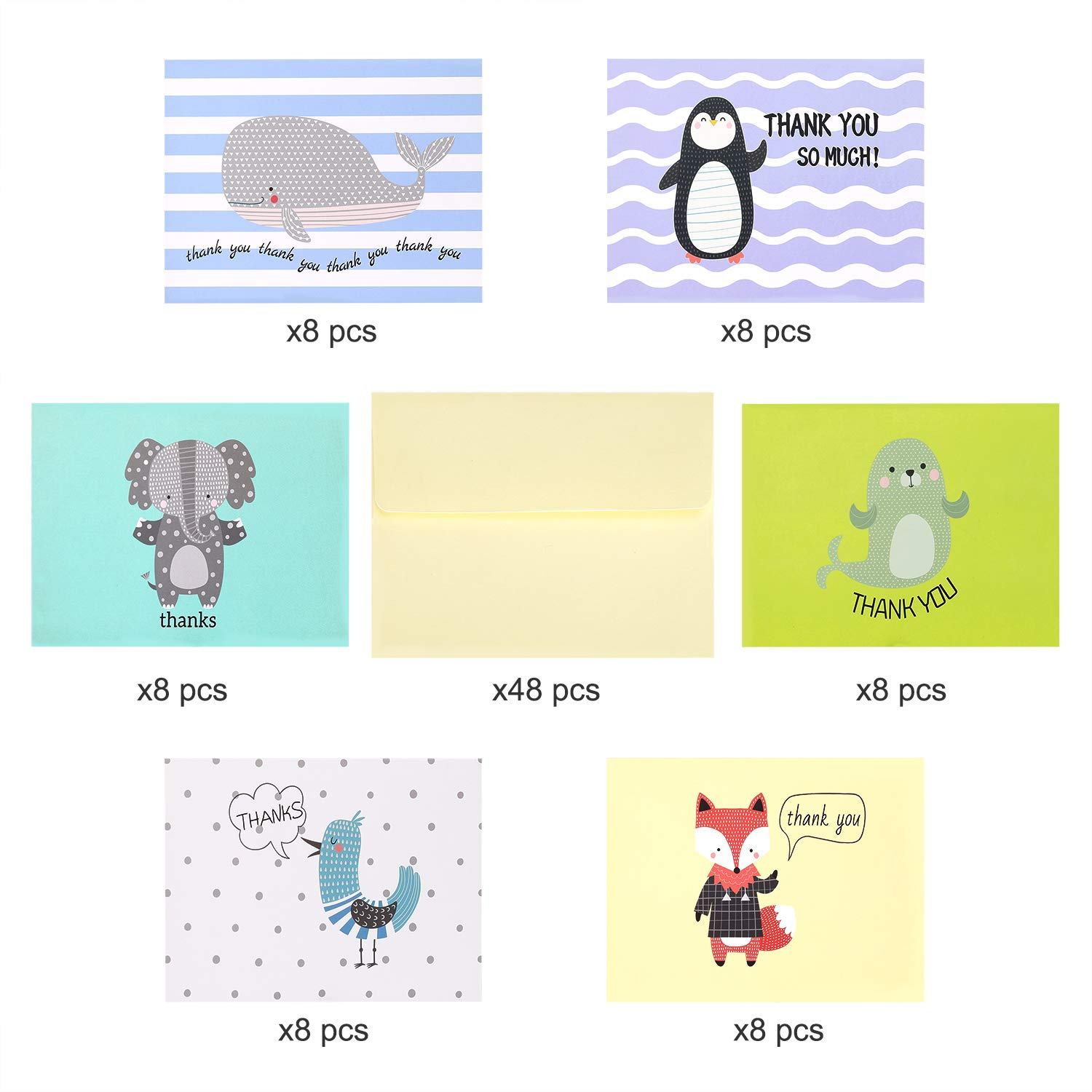 Tarjetas de Agradecimiento 6 Designs Invitaciones Thank You Note Cards con 48 Sobres para Regalo de Fiesta de Boda y Cumplea/ños Baby Shower 48 Pieces 10x15 cm