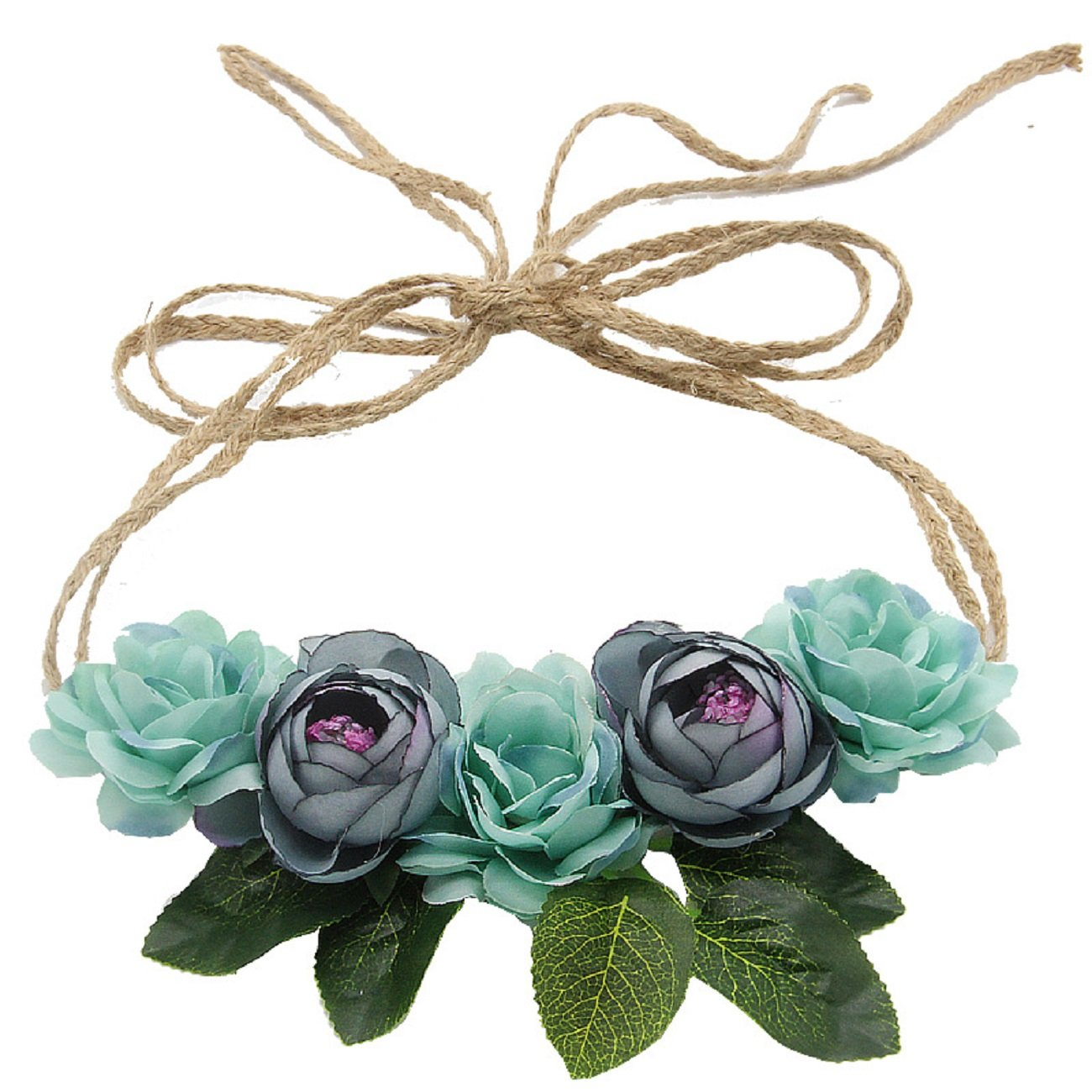 Love Sweety Nature Flower Headband Floral Crown Wreath for Lawn Wedding (Blue)