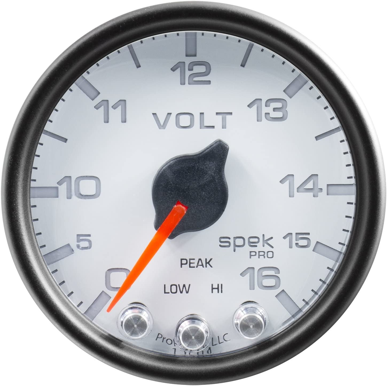 16V Stepper Motor W//Peak /& Warn Blk Spek-Pro 2 1//16 Auto Meter P34432 Gauge 2 1//16 Voltmeter