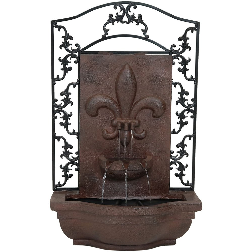 Sunnydaze French Lily Outdoor Wall Mounted Water Fountain with Electric Submersible Pump, 33-Inch, Iron Finish