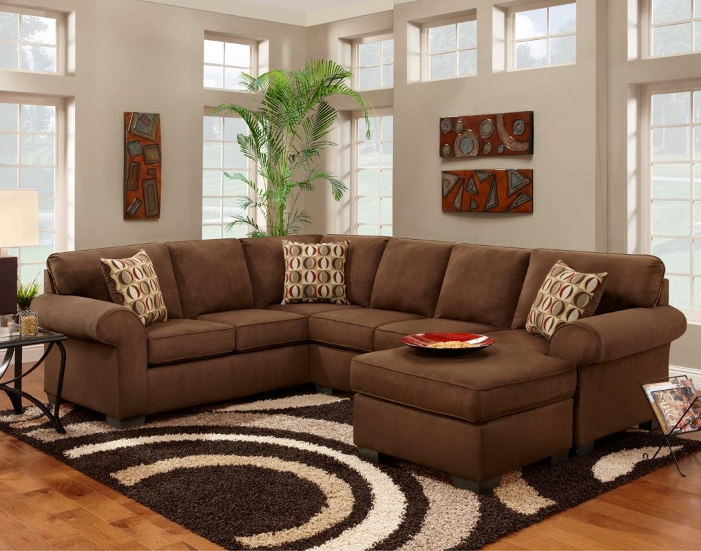 Amazon.com: Chelsea Home Furniture Adams 2 Piece Sectional, Patriot  Chocolate: Kitchen U0026 Dining
