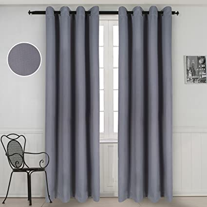 GYROHOME Solid Color Thermal Insulated Blackout Curtains Metal Grommet Curtain Panels Room Darkening Window Drapes for Bedroom/Living Room Sold in ...