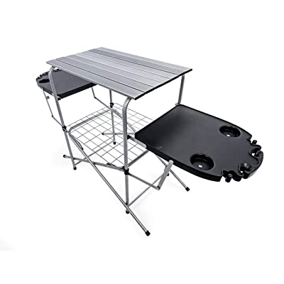 "Camco Deluxe Foldable Outdoor Grilling Table with Side Tables & Cup Holders - Excellent for Tailgating, Camping, Parties, The Beach & More! | Includes Storage Bag |Measures 59"" x 19"" x 32"" - (57295): Automotive"