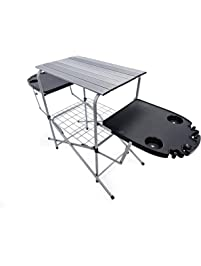 Camco 57295 Deluxe Folding Grilling Table with Plastic Side Tables
