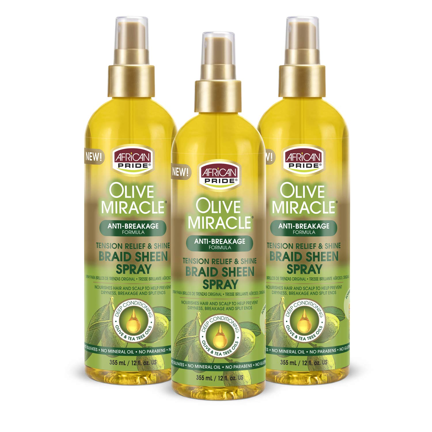 African Pride Olive Miracle Braid Sheen Spray (3 Pack) with tea tree oil and olive oil to protect and moisturize scalp and hair.12oz.
