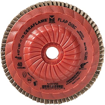 Grit 40, Type 29 Mercer Industries 349T040 Ceraflame Ceramic Trimmable Flap Discs 10 Pack 4-1//2 x 5//8-11