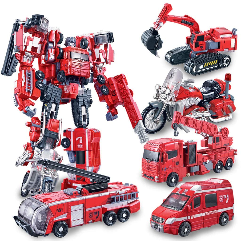 Siyushop Heroes Rescue Bots,5-in-1 Robot Model,Motorcycle, Fire Truck, Big Crane, Excavator, Ambulance, Combat Robot Model,Children's Deformation Toy (Color : Five-in-one Robot)