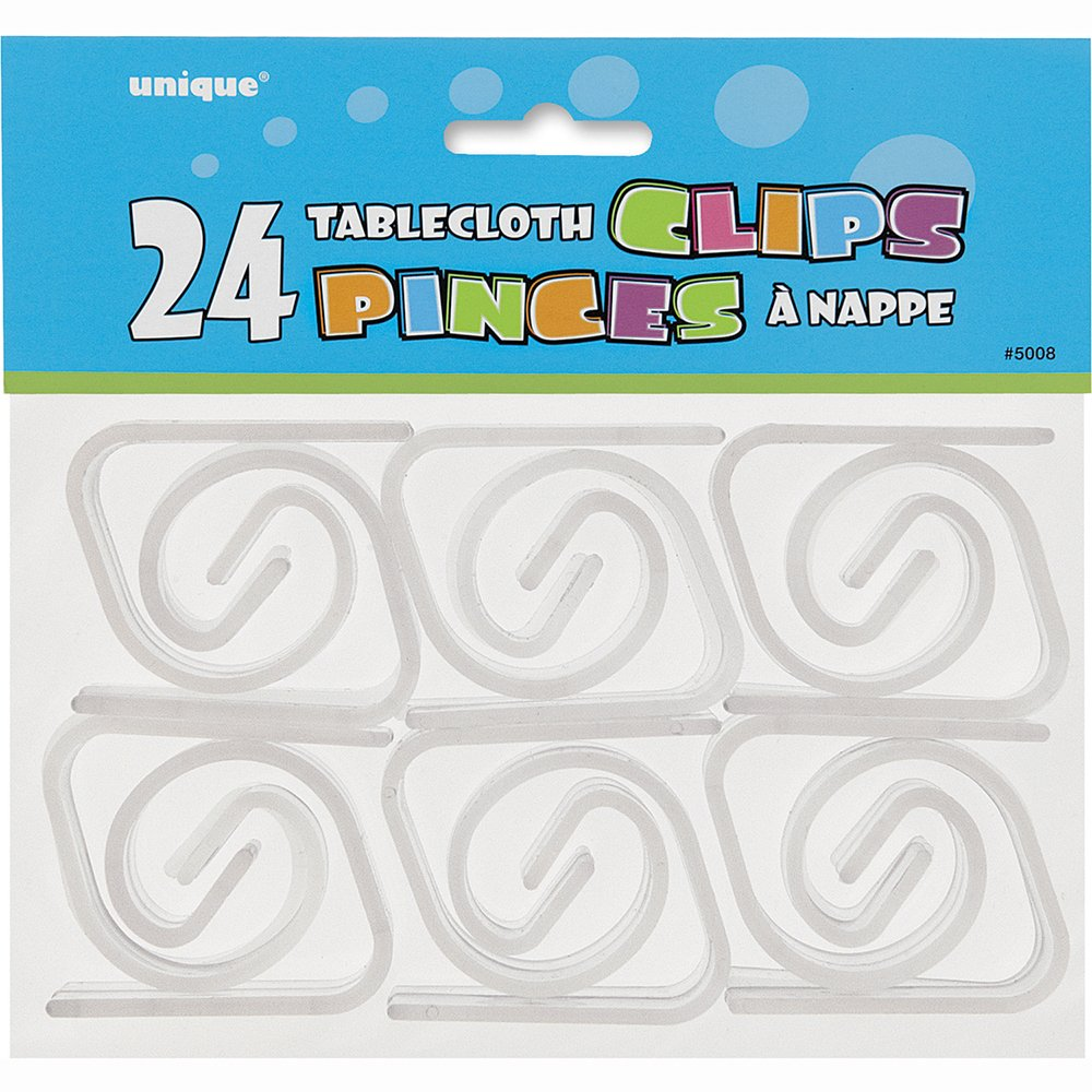 24 Clear Tablecover Clips Partyrama 5008