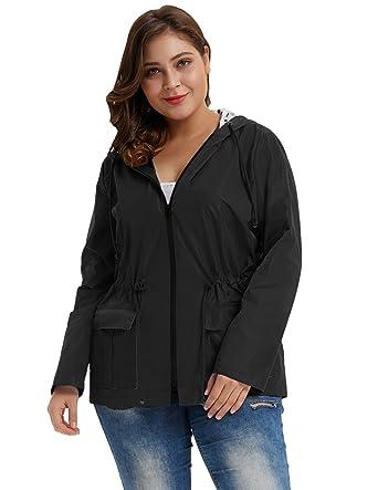 967febf920e Hanna Nikole Plus Size Women Lightweight Waterproof Long Sleeve Hooded Rain  Coat Black Size 2X
