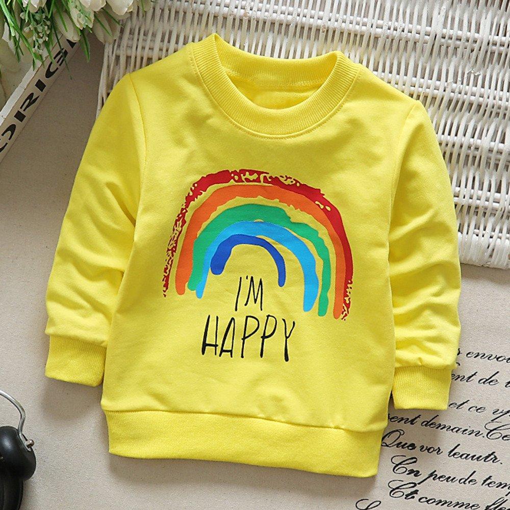 Zycshang Newborn Infant Baby Boy Girl Fashion Cute Cartoon Long Sleeve Rainbow Soft Tops T-Shirt Warm Clothes Comfortable Soft ChildrenS Suit