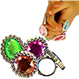 Ring Jewelry - Pack of 24 Adorable Pretend Play Large Gemstone Rings | Manufactured by Toy Cubby | Dress Up Your Little Princess Party Favor Supply Costume Accessory.