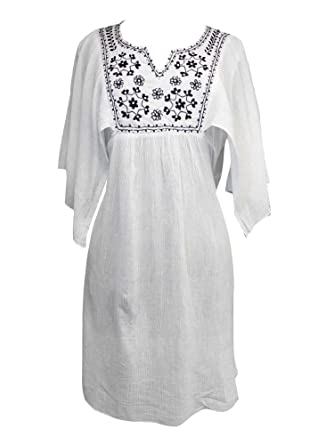 9afa065f685cf Luxury Divas White Cotton Embroidered Beach Cover Up Dress at Amazon ...