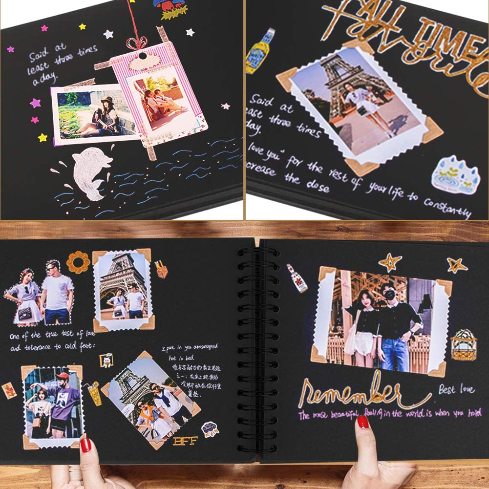 Parsion anniversario 80 pagine nere album fotografico fai da te ideale come regalo di laurea compleanno San Valentino matrimonio