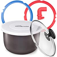 HOMENOTE Pressure Cooker Accessories Compatible with Instant Pot- Best Value Set includes 2 Pack Sealing Ring, Tempered Glass Lid, Silicone Lid, Steam Release