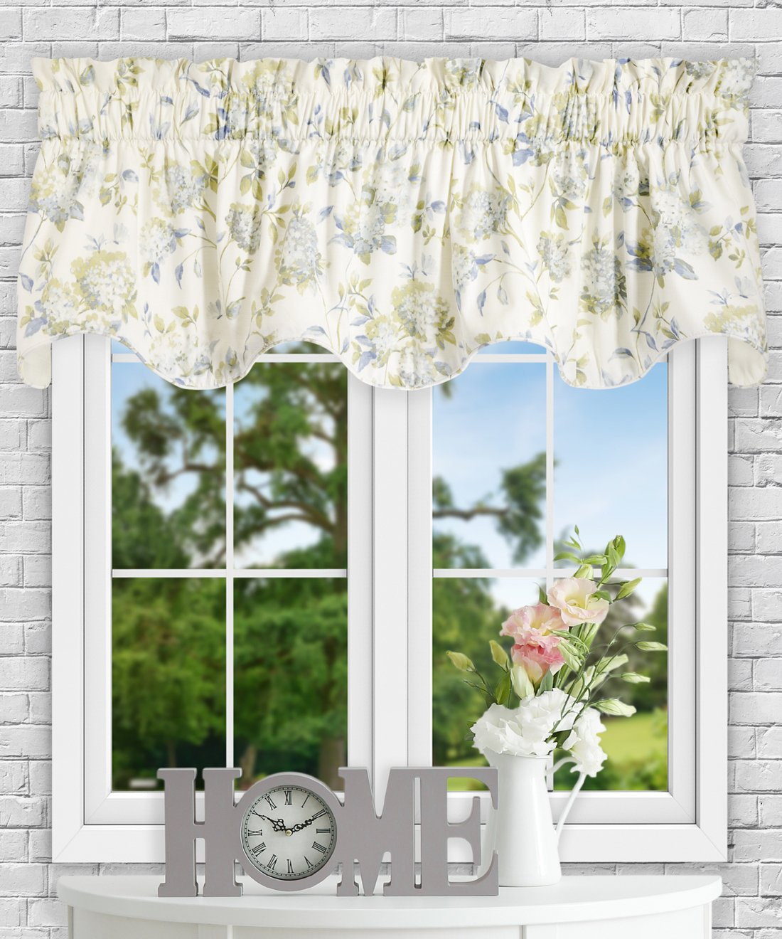 Simple Comfort Abigail Traditional Hydrangea Floral Print Tailored Panel Pair with Tiebacks, 90 x 63, Lilac 90 x 63 Ellis Curtain