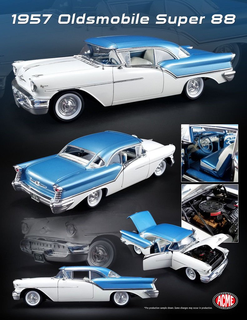 1957 Oldsmobile Super 88 Artesian Blue / Victoria White Limited Edition to 624 pieces Worldwide 1/18 Diecast Model Car by Acme A1808003