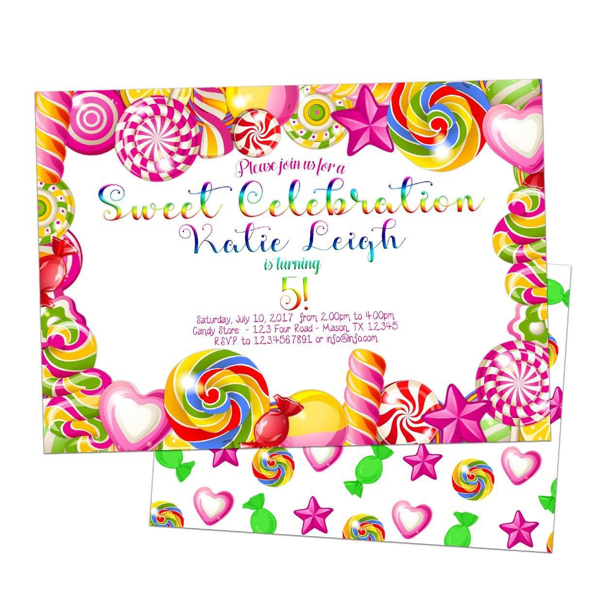 Amazon.com: Rainbow Candy Invitations Girl Birthday Pink Sweet: Handmade