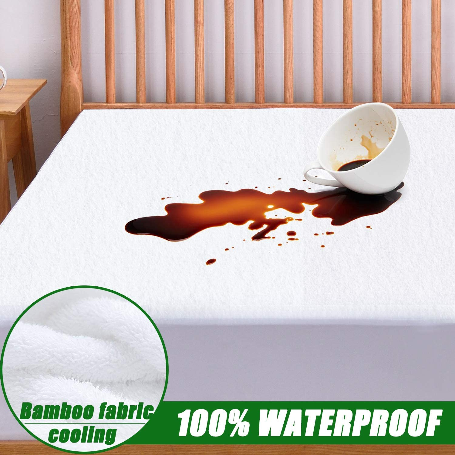 "Queen Size Mattress Protector 100% Waterproof Hypoallergenic Mattress Pad Cover - Bamboo Fabric Terry Top - Fitted 8""-21"" Deep Pocket - Breathable, Cooling, Noiseless and Vinyl Free"