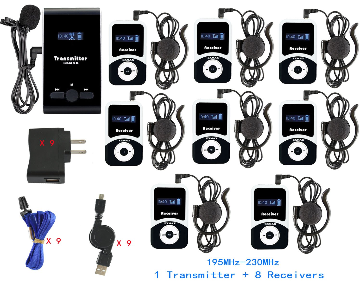 EXMAX ATG-100T 195-230MHz Wireless Tour Guide Monitoring System Microphone Earphone Headset for Church Translate Teaching Conference Travel Square Dance(1 Transmitter 8 Receivers)