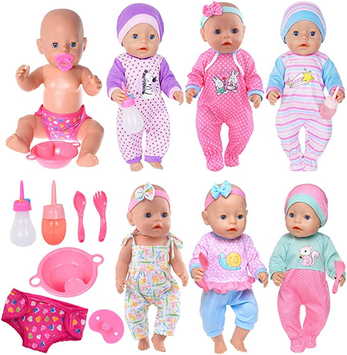 iBayda 2pc Rompers with 2 Pack Diapers and 2pc Bids Doll Clothes Accessories for 14-18 Inch Baby Dolls