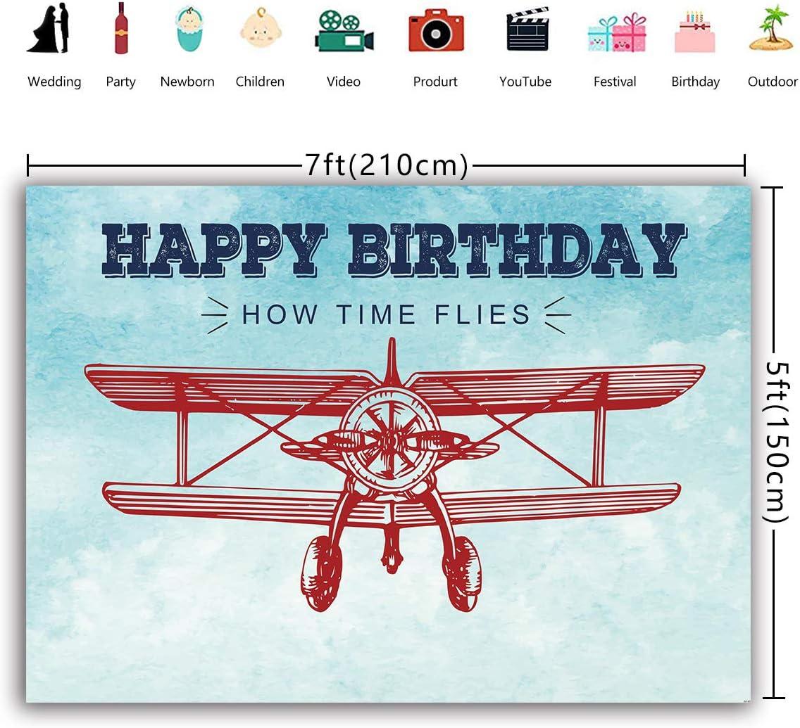 Daniu 210cmx150cm Vintage Aircraft Background Banni/ère Gar/çons Anniversaire Toile de Fond Dessin Anim/é Mod/èle Temps Vole Grunge Ciel Nuage Scape Baby Shower Dessert Table Photographie Fond