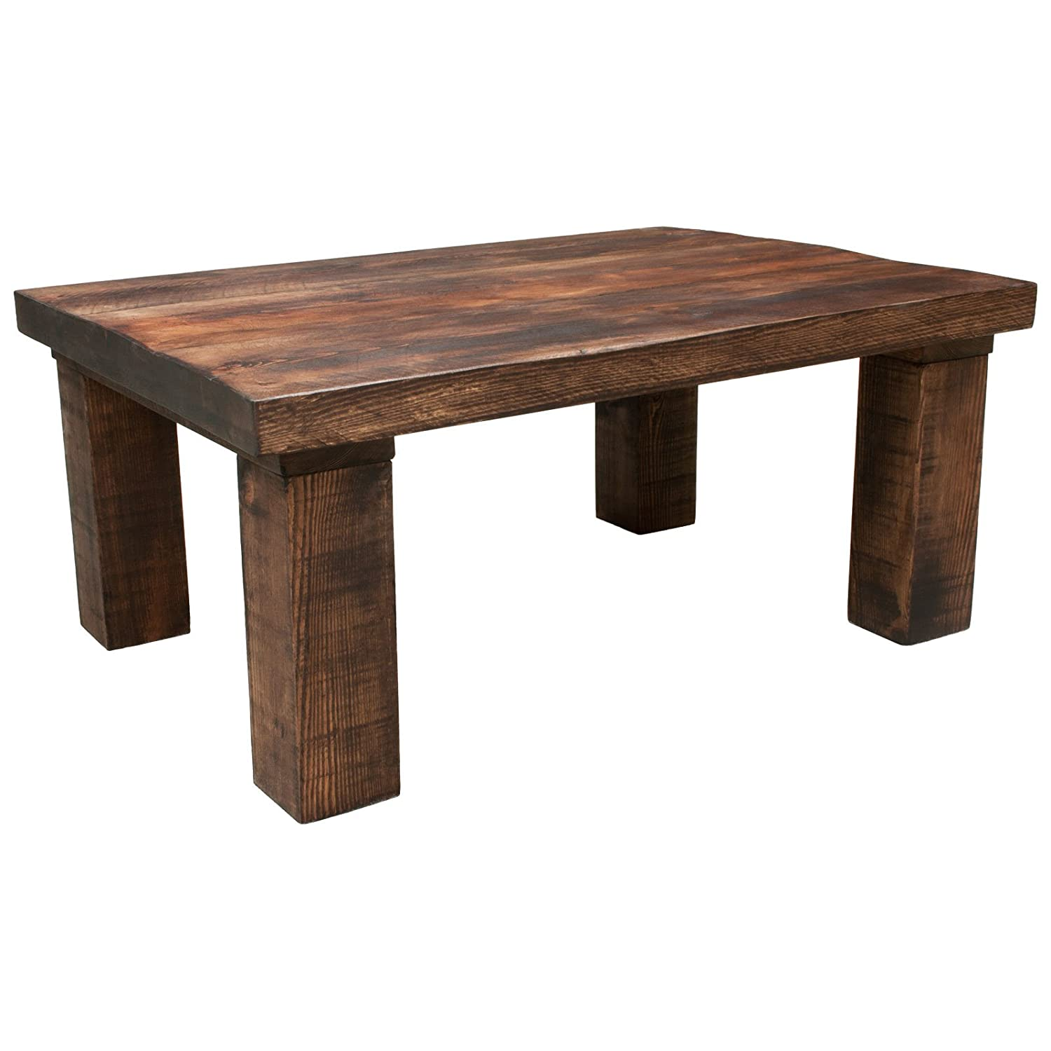 Funky Chunky Furniture Rustic Solid Wood 4 Leg 2in Top Coffee Table, Walnut, 100cm