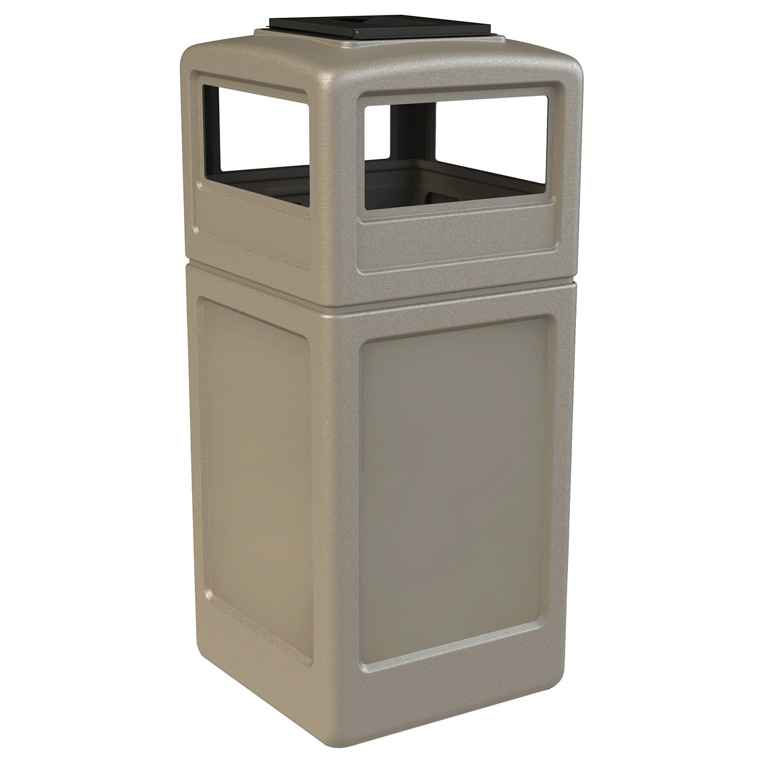 Garbage Trash Can Bin Commercial Waste Container with Ashtray Lid, Polyethylene, 42-gal, Beige