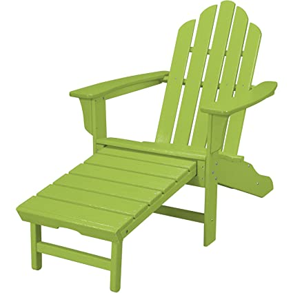 Miraculous Hanover Outdoor Furniture Hvlna15Li All Weather Contoured Adirondack Chair With Hideaway Ottoman Lime Machost Co Dining Chair Design Ideas Machostcouk