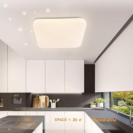 Luz de techo LED Baño Cocina Dormitorio Luces de techo Ducha Sala Comedor Estudio Balcón Pasillo Corredor Lámpara de techo Blanco natural 4000K ...