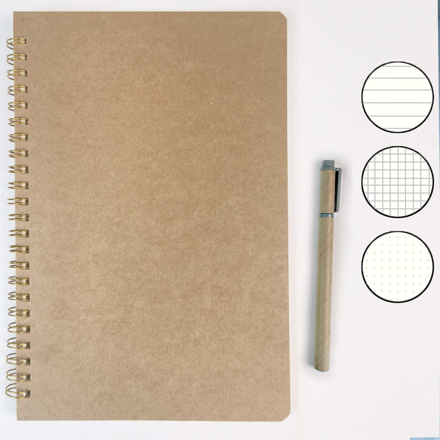 notebook soft cover note book spiral notebooks lined college ruled B5 Hard kraft cover writing wirebound journal diary note books gel pen sprial bound office subjects memo book notepads travel diary