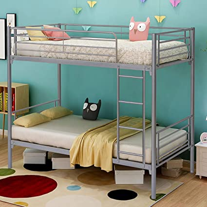 Jurmerry Bunk Beds Metal Frame Twin Over Twin Loft Bed For Kids Girls With Black Sliver Slat Ladder Hevay Duty Steel Bed Frame Twin Silver