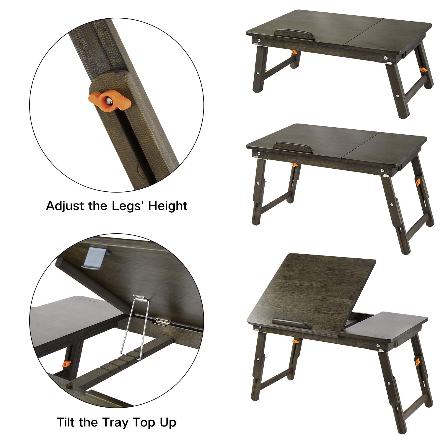 Laptop Desk Large Nnewvante Table Adjustable 100% Bamboo Foldable Breakfast Serving Bed Tray Table w' Tilting Top Drawer-Retro by NNEWVANTE (Image #4)